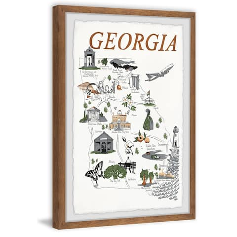 'Illustrated Map of Georgia' Framed Painting Print
