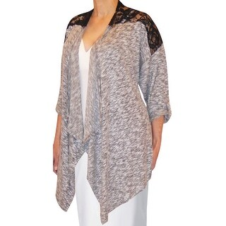 Funfash Plus Size Clothing Gray Black Lace Women's Cardigan Sweater Made in USA