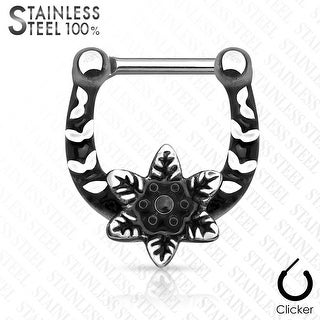 Flower Center Casted Surgical Steel Septum Clicker (Sold Ind.)