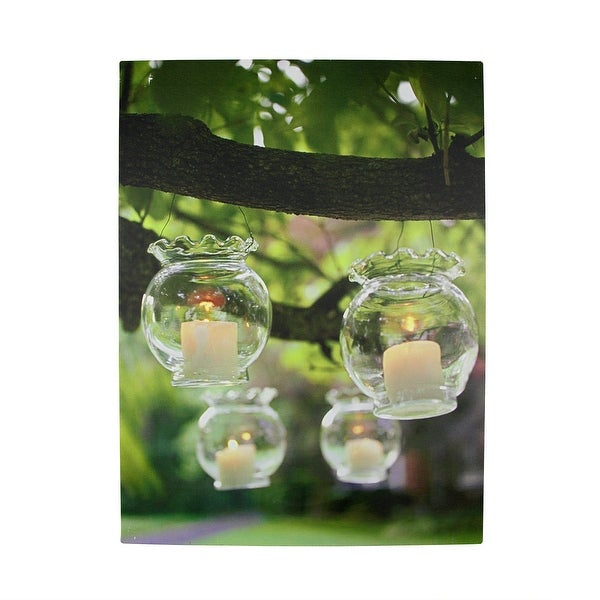 """LED Lighted Flickering Garden Party Hanging Glass Candles Canvas Wall Art 15.75"""" x 12"""""""