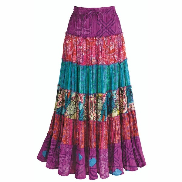 Women's Colorful Carnivale Tiered Cotton Peasant Skirt