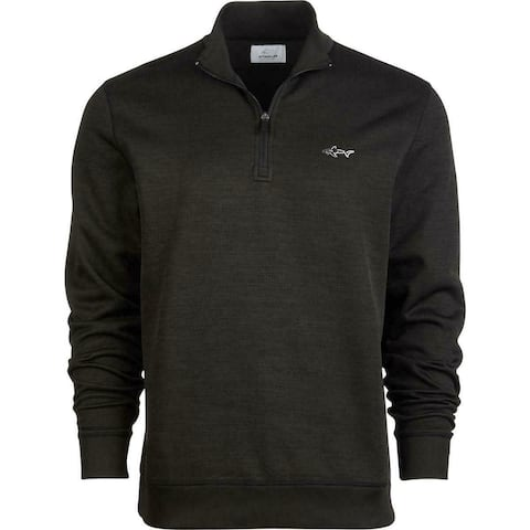 Greg Norman Mens Golf Sweater Black Size XL Herringbone 1/2 Zip Pullover