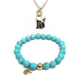 "Turquoise Magnesite 7"" Bracelet & Cat Gold Charm Necklace Set"
