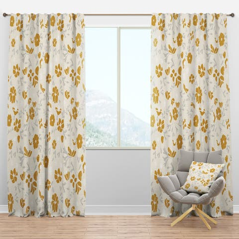 Designart 'Retro Handdrawn Poppies III' Mid-Century Modern Blackout Curtain Panel