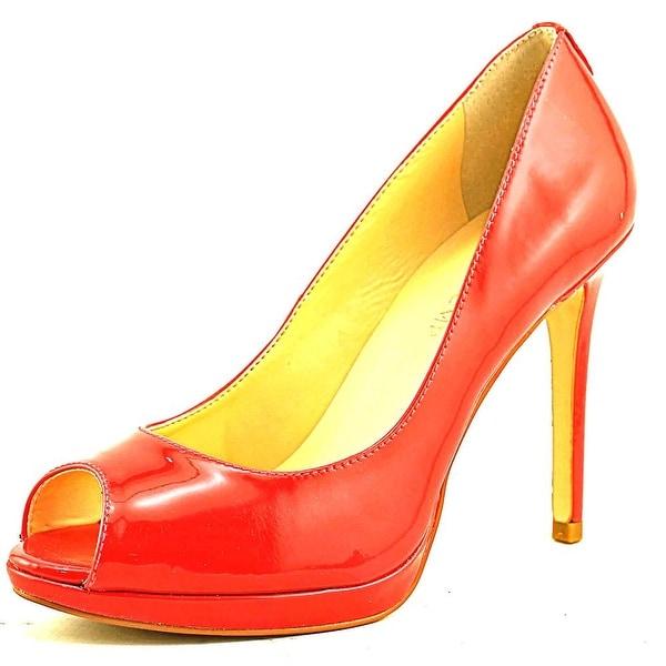 Ivanka Trump Maggie Peep-Toe Patent Leather Heels
