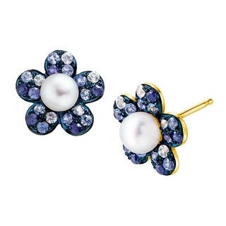 3/4 ct Natural Sapphire & 4.5 mm Freshwater Pearl Flower Stud Earrings in 14K Gold