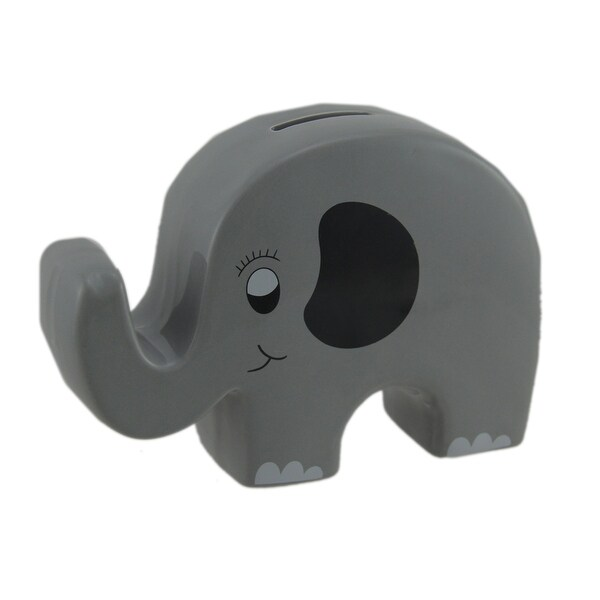 Whimsical Gray Ceramic Elephant Kids Money Bank - 5 X 7 X 2 inches