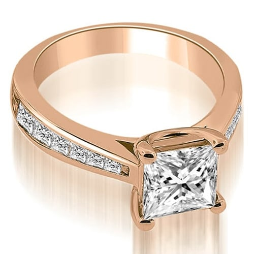 1.40 cttw. 14K Rose Gold Cathedral Channel Princess Diamond Engagement Ring