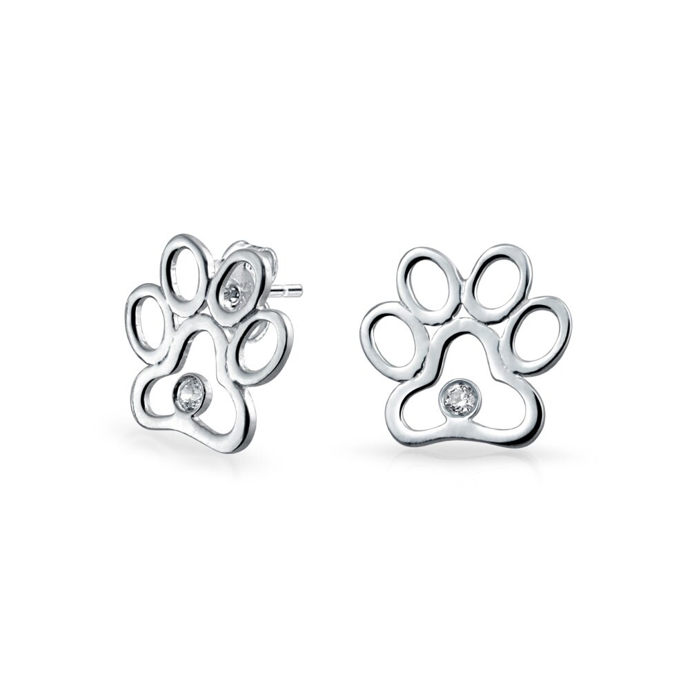 Furry Studs bff cut out open animal lover pet dog cat paw print stud earrings for women  puppy cubic zirconia 925 sterling silver