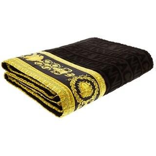 Gianni Versace Unisex Large Throw Bath Beach Towel Medusa Head Barocco Detail Black