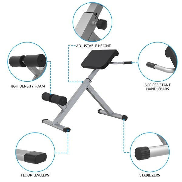 Roman Chair Back 45 Degree Hyperextension Bench Abdominal Exercise Sports Machine 38l X 24w X 32h In Overstock 31893080