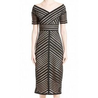 Lela Rose Womens Off-Shoulder Lace Illusion Sheath Dress
