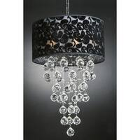 Contemporary 6 Light Chandelier with Large Shade and Faceted Crystal Balls