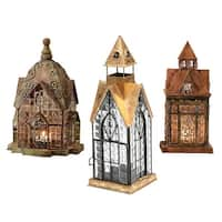 Set of 3 Glass and Metal Candle Lanterns -  Classic European Architectural Houses - 10.5 in. x 6.75 in.