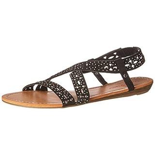 Pink & Pepper Womens Millie Faux Suede Rhinestone Strap Sandals - 6.5 medium (b,m)