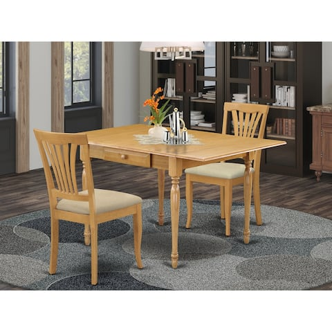 MZAV3-OAK-C 3-Pieces Dining set - Dinette Table and Linen Fabric Kitchen Chairs Seat - Oak Finish (Pieces Option)