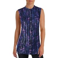 T Tahari Womens Emerson Blouse Mixed Media Floral Print