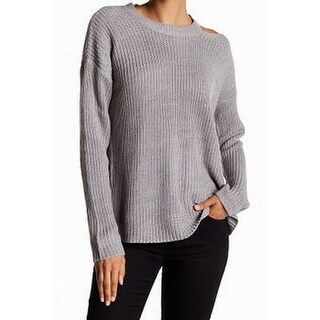 RDI NEW Gray Womens Size Large L Cold Shoulder Knitted Pullover Sweater