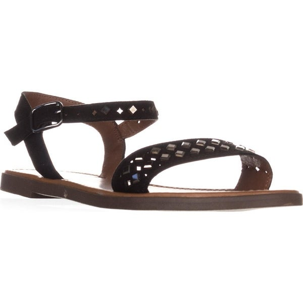 MG35 Delany Studded Casual Flat Sandals, Black