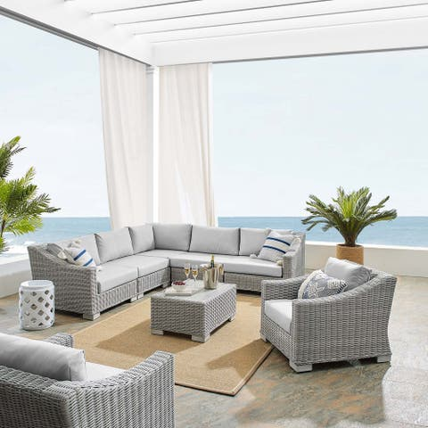 Conway Sunbrella® Outdoor Patio Wicker Rattan 7-Piece Sectional Sofa Furniture Set