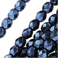 Czech Fire Polished Glass Beads 4mm Round Full Pearlized Coat - Navy Blue (50) - Thumbnail 0
