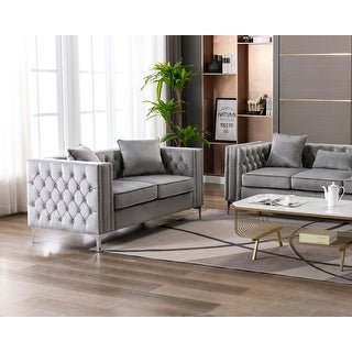 Link to Silver Orchid Winters Velvet Loveseat Similar Items in Sofas & Couches