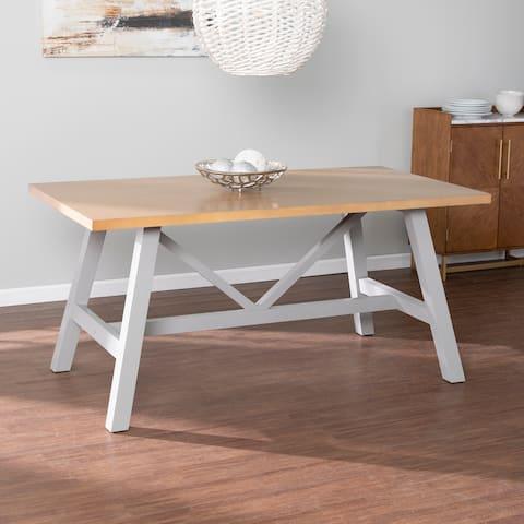Porch & Den Hepner Modern Farmhouse Natural/ Gray Wood Dining Table