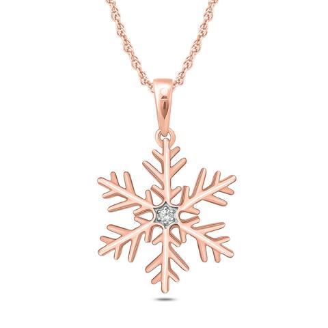 Cali Trove Diamond Accent Snowflake Pendant In 10kt Rose Gold