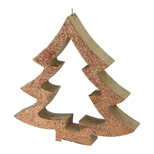 "7"" Nature's Luxury Copper Glittered Cutout Tree Christmas Ornament"