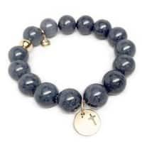 """Grey Jade Cross Disc Gold Charm Lauren 7"""" Bracelet"""