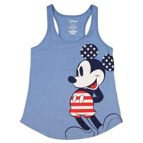 Disney Mickey Mouse Junior's All-American Mickey Racerback Tank Top Tee Shirt