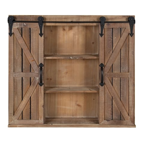 Kate and Laurel Cates Rustic Wood Wall Storage Cabinet with Barn Doors