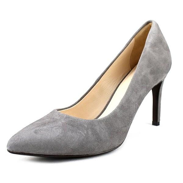 Cole Haan Eliza Grand Pump 85 MM Women Round Toe Suede Gray Heels