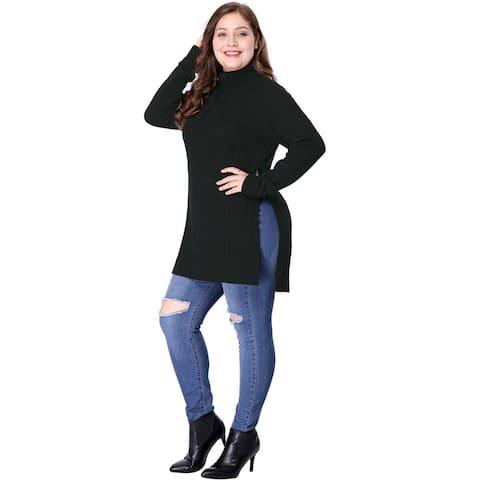 Women's Plus Size Side Slit Raglan Sleeve Turtleneck Tunic Sweater - Black