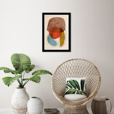 Wynwood Studio 'Shaped Together' Abstract Wall Art Framed Print Shapes - Brown, Red