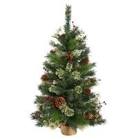 3.5' Nisswa Berry Pine Artificial Christmas Tree with Burlap Base - Unlit - green