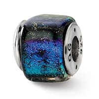 Sterling Silver Reflections Rainbow Dichroic Glass Square Bead (4mm Diameter Hole)