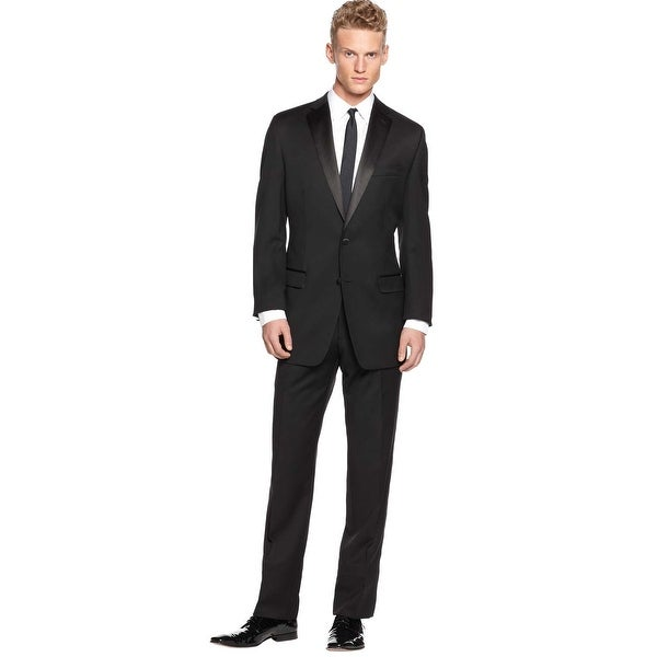 723ca003543c Calvin Klein Slim Fit Tuxedo 42 Regular 42R Black Wool Flat Front Pants 36W  Myer