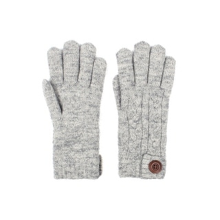 Mens Cable Knit Winter Gloves Wooden Button Lined (Option: Beige)