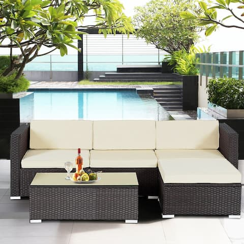 Gymax Rattan Wicker Table Shelf Garden Sofa 5 PCS Patio Furniture Set - 5-piece set
