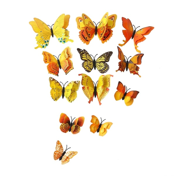 3D Butterfly Wall Sticker Decal with Double Wing with Sticker Yellow
