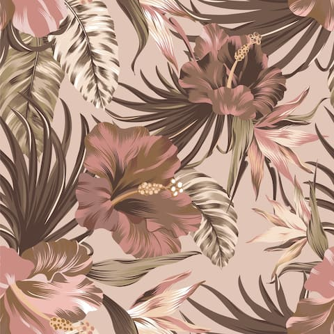 Havana Tropical Leaves Removable Wallpaper - 10'ft H x 24''inch W