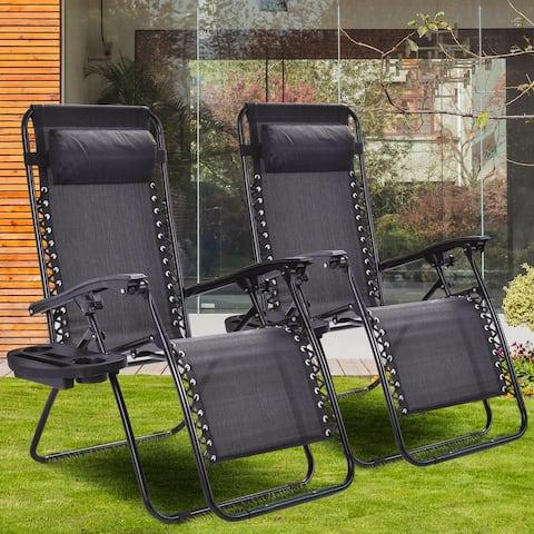 Adjustable Recliner Lounge Zero Gravity Chair (Set of 2)