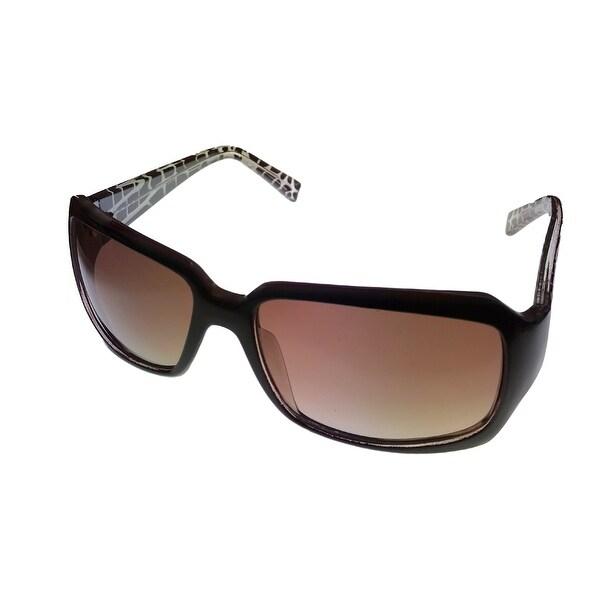 Ellen Tracy Womens Sunglass ET500 2 Brown Rectangle Fashion Plastic, Brown Gradient Lens - Medium