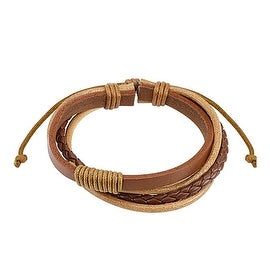 Brown Combination Leather Bracelet with Drawstrings (10 mm) - 7.5 in