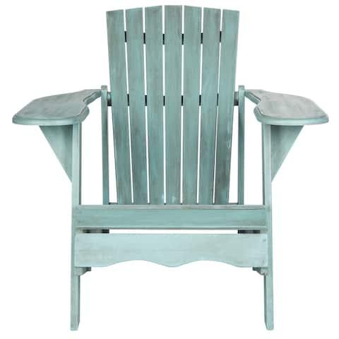 SAFAVIEH Living Mopani Adirondack Beach House Blue Acacia Wood Chair