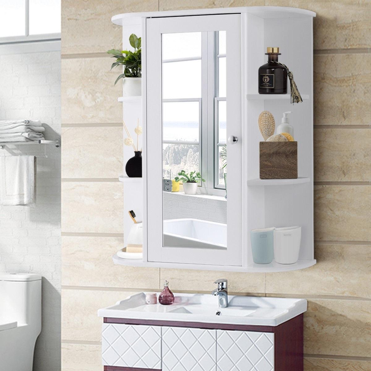 Gymax Bathroom Cabinet Single Door Shelves Wall Mount W Mirror Organizer