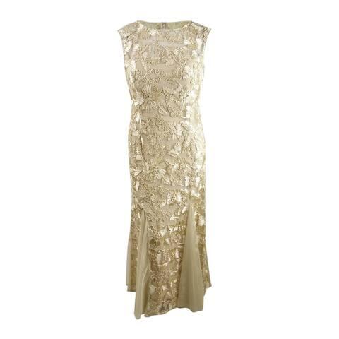 Alex Evenings Women's Floral Soutache Gown (16, Champagne)