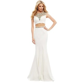 Mac Duggal Womens Embellished 2PC Crop Top Dress