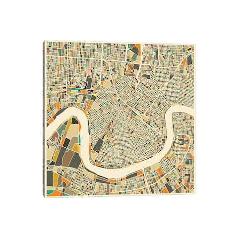 """iCanvas """"Abstract City Map of New Orleans"""" by Jazzberry Blue Canvas Print"""